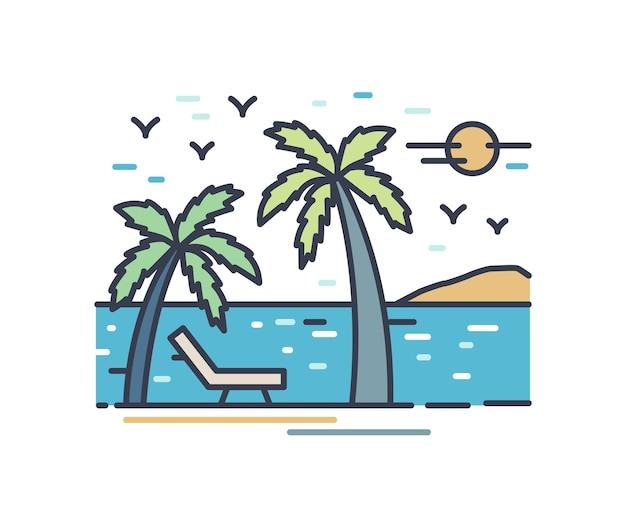 Наброски красочные отпускные пейзажи. пляжный пейзаж с шезлонгом и пальмами