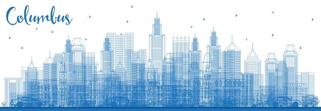Очертите горизонт колумбуса, огайо, с голубыми зданиями. векторные иллюстрации. деловые поездки и концепция туризма с современной архитектурой. город колумбус с достопримечательностями.