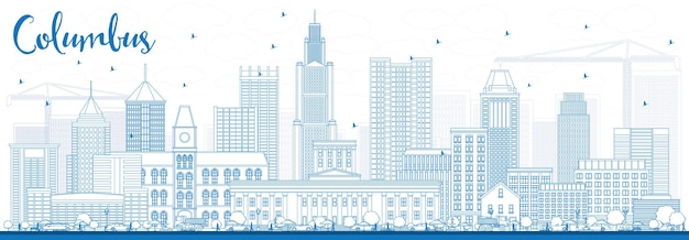 Очертите горизонт колумбуса с синими зданиями. векторные иллюстрации. деловые поездки и концепция туризма с современной архитектурой. изображение для презентационного баннера и веб-сайта.