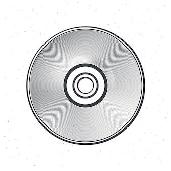 Outline of compact disc vector illustration optical laser disk cd or dvd hand drawn ink sketch
