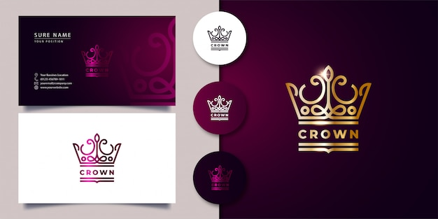 Outline crown logo with business card