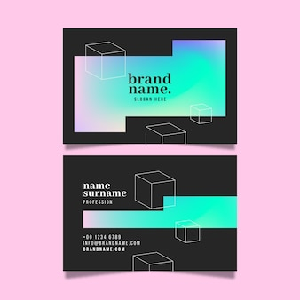 Outline cubes business cards template