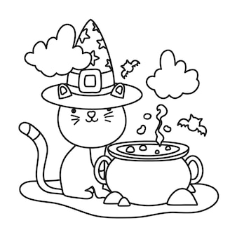Outline cute cat with hat and pot cauldron