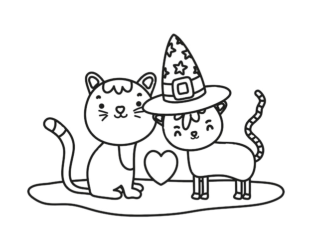 Outline cute couple cat with hat and heart