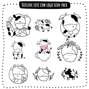 Outline cute cow logo icon pack