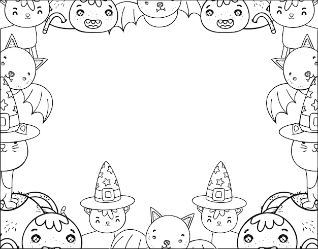 Outline cute halloween animals decoration event