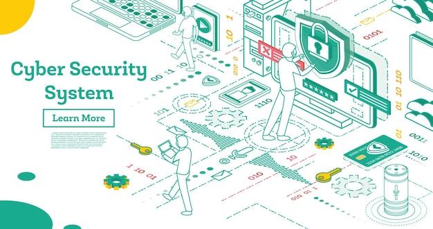 Изложите концепцию кибербезопасности. изометрические иллюстрации, изолированные на белом. концепция защиты данных. конфиденциальность данных проверки кредитной карты и доступа к программному обеспечению. векторные иллюстрации.