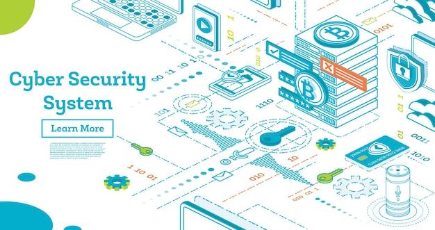 Изложите концепцию кибербезопасности. изометрические иллюстрации, изолированные на белом. защита данных. криптовалютная ферма. серверы для майнинга. векторные иллюстрации. криптовалюта и концепция блокчейна.
