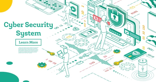 Outline cyber security concept. isometric illustration isolated on white. data protection concept. credit card check and software access data as confidential. vector illustration.