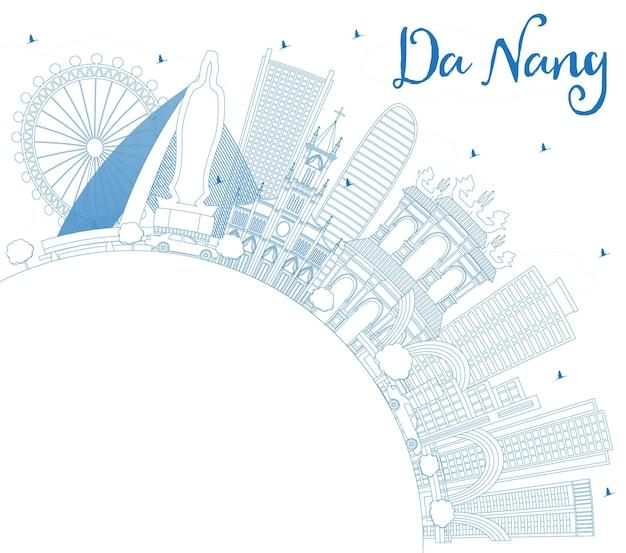 파란색 건물과 복사 공간이 있는 다낭 베트남 도시 스카이라인 개요. 벡터 일러스트 레이 션. 현대 건축과 비즈니스 여행 및 관광 개념입니다. 랜드마크가 있는 다낭 도시 풍경.