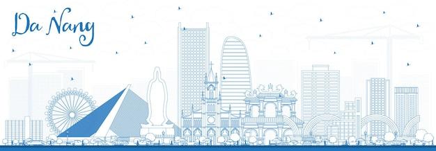 파란색 건물이 있는 다낭 베트남 도시 스카이라인 개요. 벡터 일러스트 레이 션. 현대 건축과 비즈니스 여행 및 관광 개념입니다. 랜드마크가 있는 다낭 도시 풍경.