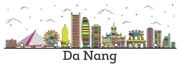 흰색 절연 색상 건물과 다낭 베트남 도시의 스카이 라인을 설명합니다. 벡터 일러스트 레이 션. 랜드마크가 있는 다낭 도시 풍경.