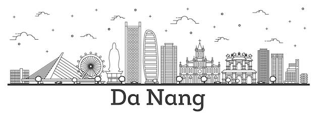흰색 절연 역사적인 건물과 다낭 베트남 도시의 스카이 라인을 설명합니다. 벡터 일러스트 레이 션. 랜드마크가 있는 다낭 도시 풍경.