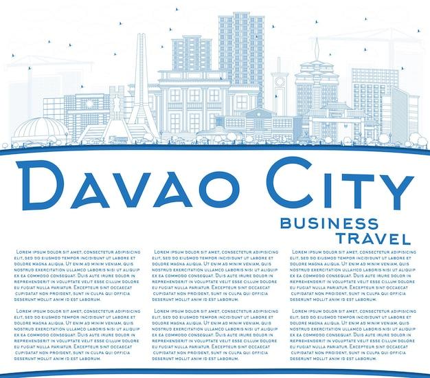 青い建物とコピースペースでダバオ市フィリピンのスカイラインの概要を説明します。ベクトルイラスト。近代建築と出張と観光のイラスト。