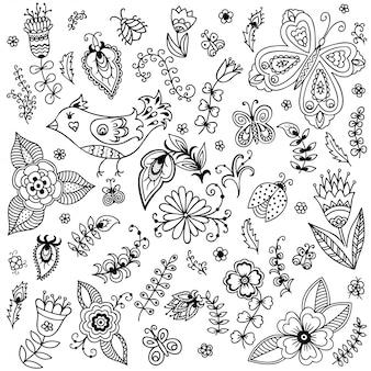 Наброски декоративные рисованной элементы в каракули детски стиле - цветы и растения. шаблон для раскраски страницы книги.