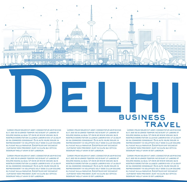 복사 공간이 있는 파란색 건물이 있는 인도 델리의 스카이라인 개요. 벡터 일러스트 레이 션. 역사적인 건축과 비즈니스 여행 및 관광 개념입니다. 랜드마크가 있는 델리의 풍경.