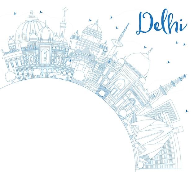 コピースペースのある青い建物のあるデリーインドの街のスカイラインの概要を説明します。ベクトルイラスト。歴史的な建築とビジネス旅行と観光の概念。ランドマークのあるデリーの街並み。