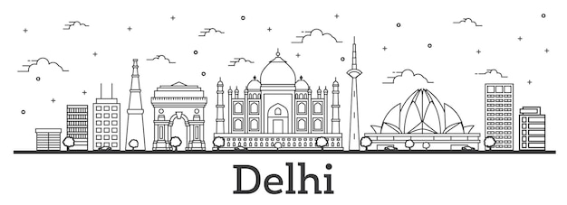 Outline delhi india city skyline with historic buildings isolated on white. vector illustration. delhi cityscape with landmarks.