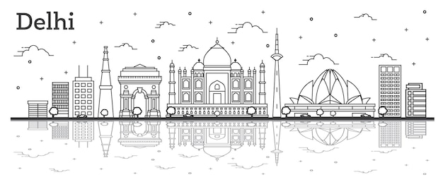 Outline delhi india city skyline with historic buildings and reflections isolated on white. vector illustration. delhi cityscape with landmarks.