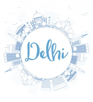 Outline delhi skyline with blue landmarks and copy space.