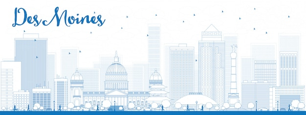 Outline des moines skyline with blue buildings