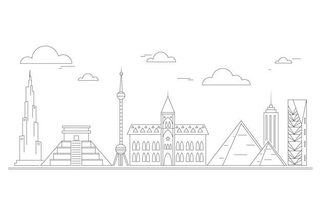 Outline design landmarks skyline