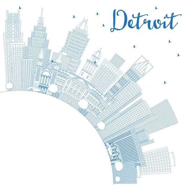 Очертите горизонт города детройт мичиган сша с синими зданиями и копией пространства. векторные иллюстрации. деловые поездки и концепция туризма с современной архитектурой. городской пейзаж детройта с достопримечательностями.