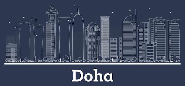 Очертите горизонт города доха катар с белыми зданиями. векторные иллюстрации. деловые поездки и концепция с современной архитектурой. городской пейзаж дохи с достопримечательностями.