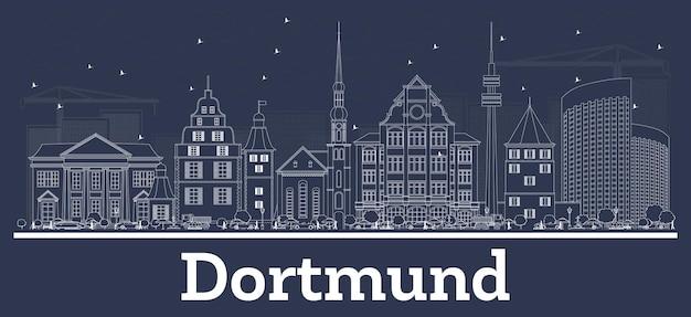 Очертите горизонт города дортмунд германия с белыми зданиями. векторные иллюстрации. деловые поездки и концепция с исторической архитектурой. городской пейзаж дортмунда с достопримечательностями.