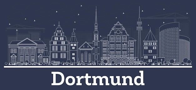 Outline dortmund germany city skyline with white buildings. vector illustration. business travel and concept with historic architecture. dortmund cityscape with landmarks.
