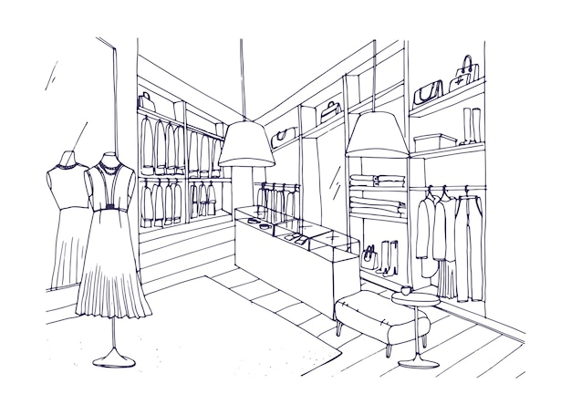 Outline drawing of fashionable clothing shop interior with furnishings, showcases, mannequins dressed in stylish apparel