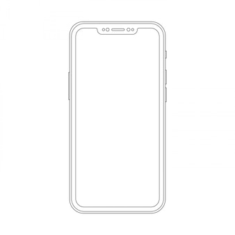 Outline drawing trendy smartphone. elegant thin line style cellphone design