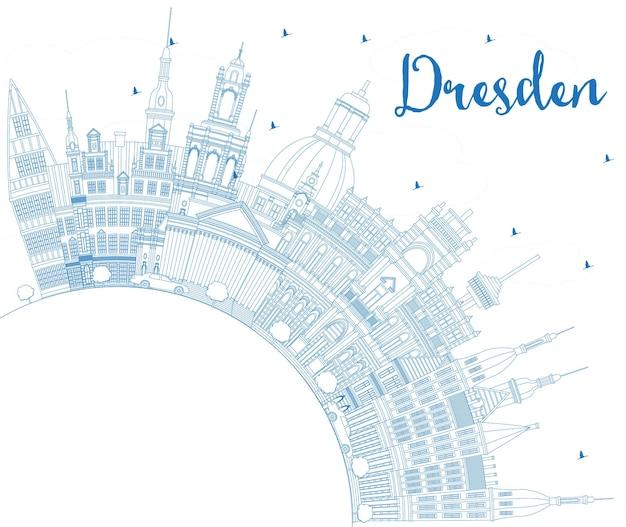Наброски на фоне линии горизонта города дрезден германия с синими зданиями и копией пространства. векторные иллюстрации. деловые поездки и концепция туризма с исторической архитектурой. городской пейзаж дрездена с достопримечательностями.