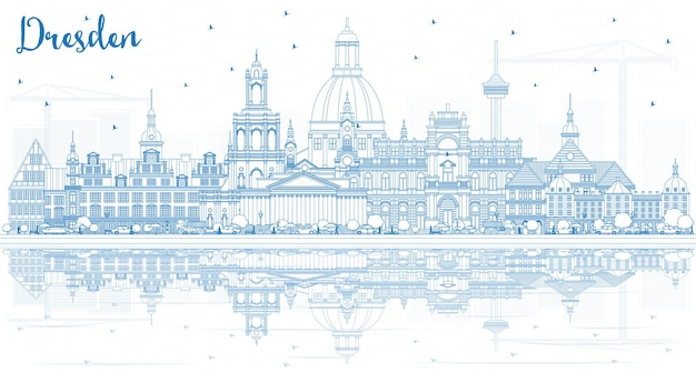 Очертите горизонт города дрезден германия с голубыми зданиями и размышлениями. векторные иллюстрации. деловые поездки и концепция туризма с исторической архитектурой. городской пейзаж дрездена с достопримечательностями.