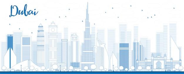 Outline dubai city skyline with blue skyscrapers