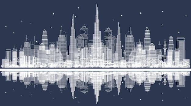 都市の高層ビルでドバイのスカイラインの概要を説明します。建物の正面図。ベクトルイラスト。近代建築とビジネス旅行と観光の概念。