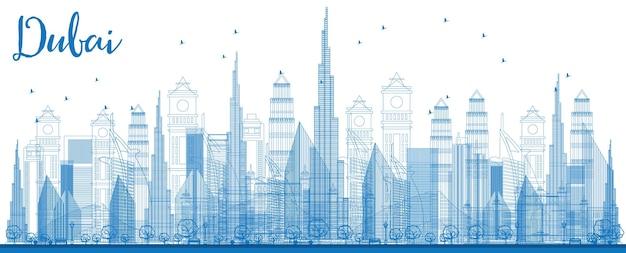 建物を通して都市の高層ビルの正面図とドバイのスカイラインの概要ベクトル図