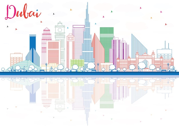 색상 건물 및 반사가 있는 두바이 스카이라인 개요. 벡터 일러스트 레이 션. 현대적인 건물과 비즈니스 여행 및 관광 개념입니다. 프레젠테이션 배너 현수막 및 웹사이트용 이미지.