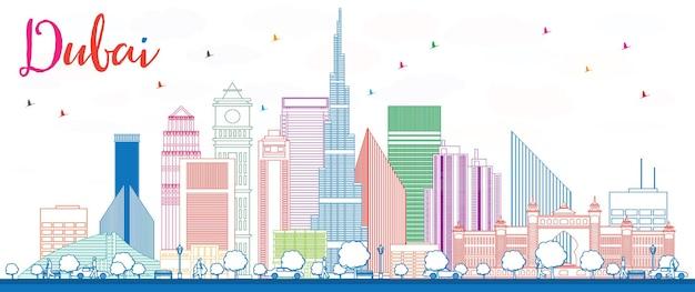 색상 건물이 있는 두바이 스카이라인 개요. 벡터 일러스트 레이 션. 현대적인 건물과 비즈니스 여행 및 관광 개념입니다. 프레젠테이션 배너 현수막 및 웹사이트용 이미지.