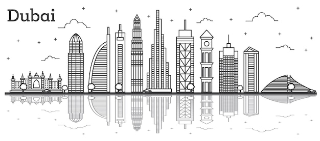 현대적인 건물과 반사 흰색 절연 두바이 아랍 에미리트 도시의 스카이 라인을 설명합니다. 벡터 일러스트 레이 션. 랜드마크가 있는 라인 아트 두바이 도시 풍경.