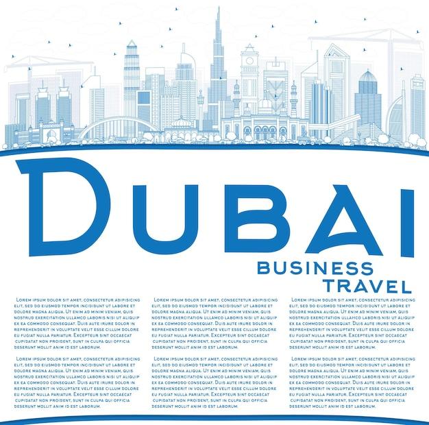 파란색 건물과 반사가 있는 두바이 uae 스카이라인 개요. 벡터 일러스트 레이 션. 현대 건축과 비즈니스 여행 및 관광 그림입니다.