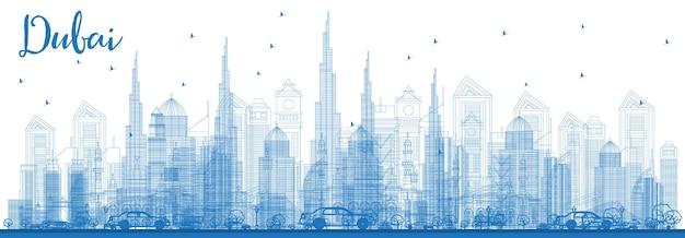파란색 건물이 있는 두바이 uae 스카이라인 개요. 벡터 일러스트 레이 션. 현대 건축과 비즈니스 여행 및 관광 그림입니다. 랜드마크가 있는 두바이 풍경.