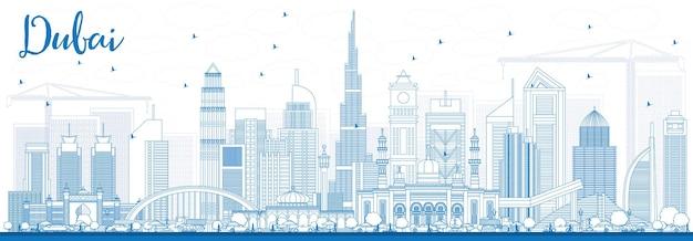 파란색 건물이 있는 두바이 uae 스카이라인 개요. 벡터 일러스트 레이 션. 현대 건축과 비즈니스 여행 및 관광 그림입니다. 프레젠테이션 배너 현수막 및 웹사이트용 이미지.