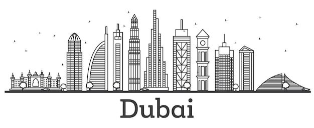 현대적인 건물이 있는 두바이 uae 스카이라인 개요. 벡터 일러스트 레이 션. 랜드마크가 있는 라인 아트 도시 풍경.