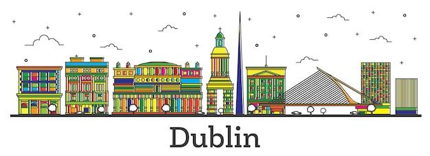 흰색 절연 색상 건물 개요 더블린 아일랜드 도시 스카이 라인. 벡터 일러스트 레이 션. 랜드마크가 있는 더블린 도시 풍경.