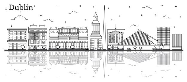 역사적인 건물과 반사 화이트 절연 더블린 아일랜드 도시 스카이 라인 개요. 벡터 일러스트 레이 션. 랜드마크가 있는 더블린 도시 풍경.