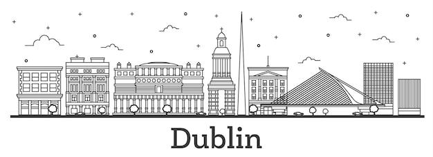 흰색 절연 역사적인 건물과 더블린 아일랜드 도시 스카이 라인 개요. 벡터 일러스트 레이 션. 랜드마크가 있는 더블린 도시 풍경.