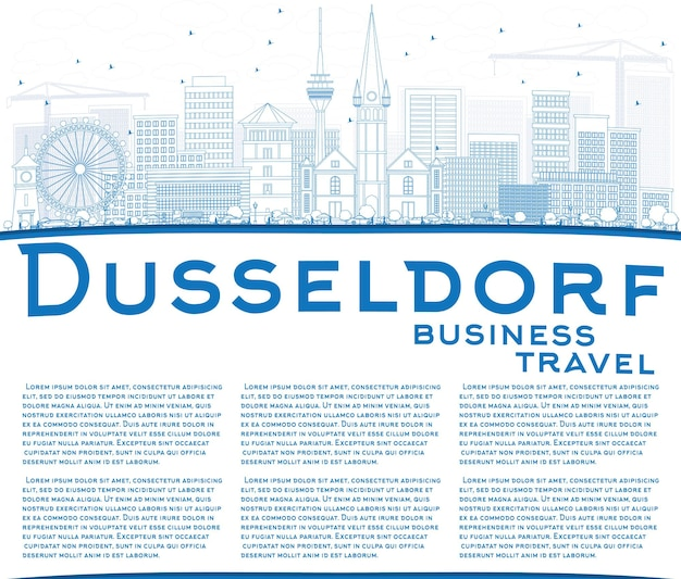 Очертите горизонт дюссельдорфа с синими зданиями и копией пространства. векторные иллюстрации. деловые поездки и концепция туризма с исторической архитектурой. изображение для презентационного баннера и веб-сайта.