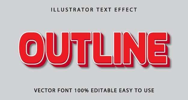 Outline editable text effect