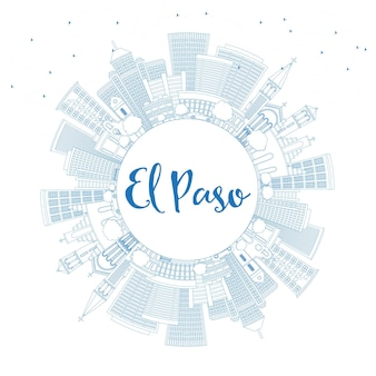 Outline el paso skyline with blue buildings and copy space. vector illustration. business travel and tourism concept with modern architecture. image for presentation banner placard and web site.